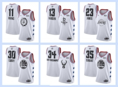 All-Star white NBA #0#1#2#3#11#13#15#21#23#30#34#35 basketball adult embroidery
