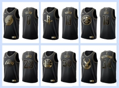All-Star Gold version NBA #0#1#2#3#11#13#15#21#23#30#34#35 basketball adult embroidery