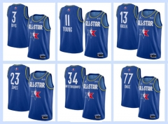 All-Star blue NBA #0#2#3#8#11#13#15#21#23#34#43#77 basketball adult embroidery