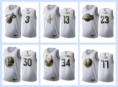 All-Star Gold version white NBA #0#1#2#3#11#13#15#21#23#30#34#35 basketball adult embroidery