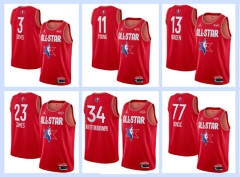 All-Star red NBA #0#2#3#8#11#13#15#21#23#34#43#77 basketball adult embroidery